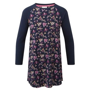 Letty Long Sleeve Printed Dress Dark Navy