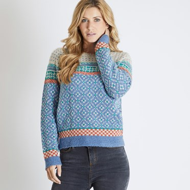 Sadie Fair Isle Jumper Light Blue