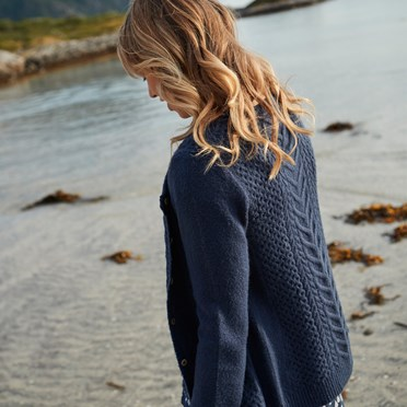 Brielle Plain Cable Knit Cardigan Dark Navy
