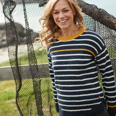 Alexa Striped Jumper Dark Navy