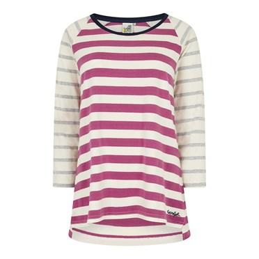 Ana 3/4 Sleeve Cotton T-Shirt Magenta