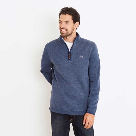 Talas Plain 1/4 Zip Soft Knit Fleece Sweatshirt China Blue