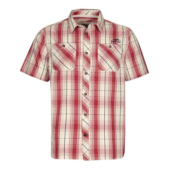 Kale Cotton Short Sleeve Checked Shirt Baked Apple