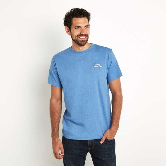 Bones Embroidered Logo Classic Plain T-Shirt Regatta Blue Marl