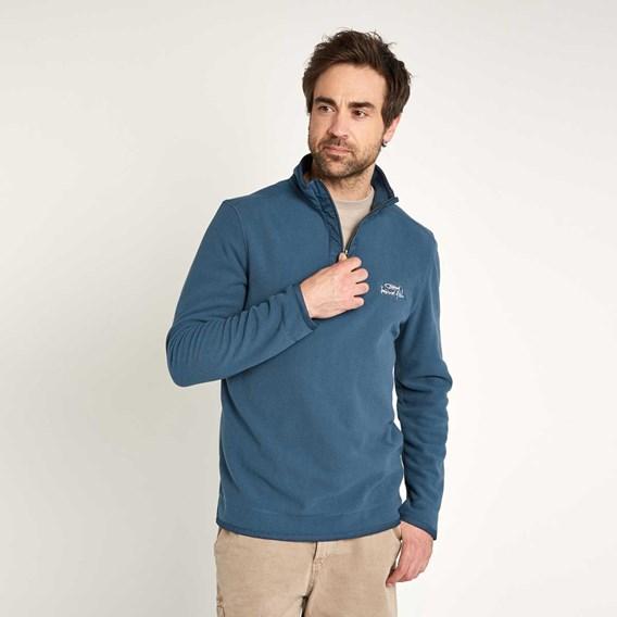 Sponde 1/4 Zip Neck Grid Fleece Top Ensign Blue