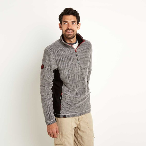 Vaileo 1/4 Zip Fleece Lined Macaroni Sweatshirt Grey