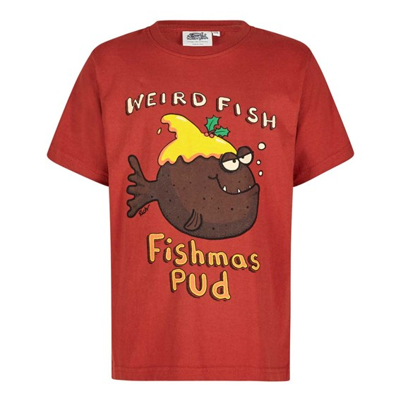 Fishmas Pud Boy's Artist T-Shirt Ketchup Red