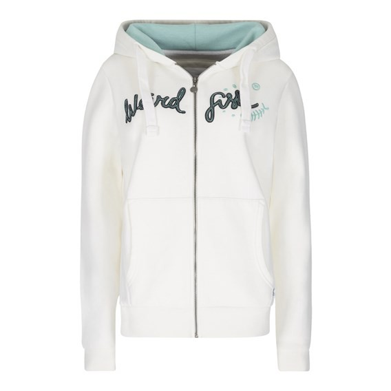 Polly Full Zip Applique Hoodie Light Cream