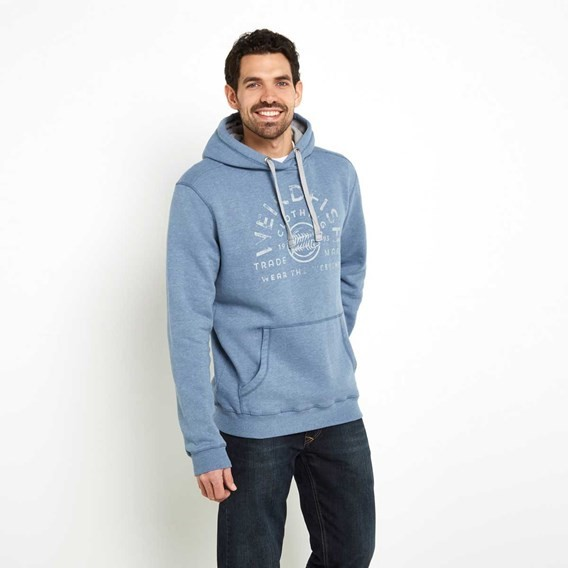 Bellicose Graphic Print Popover Hoodie Washed Blue