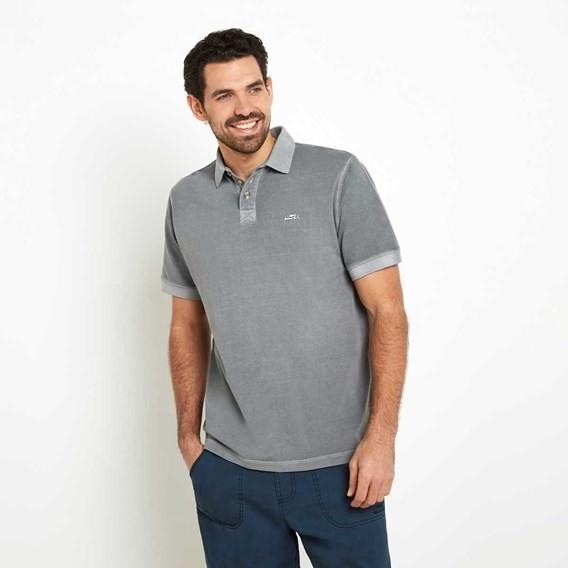Edwin Garment Dyed Polo Shirt Gunmetal
