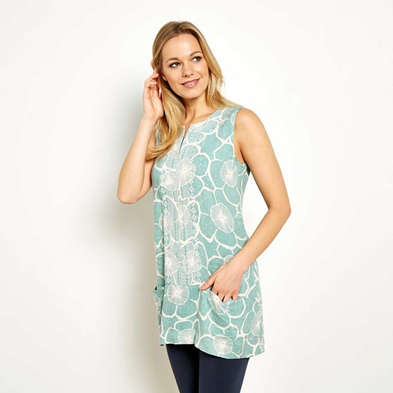 Bhindi Printed & Embroidered Lightweight Tunic Faded Jade