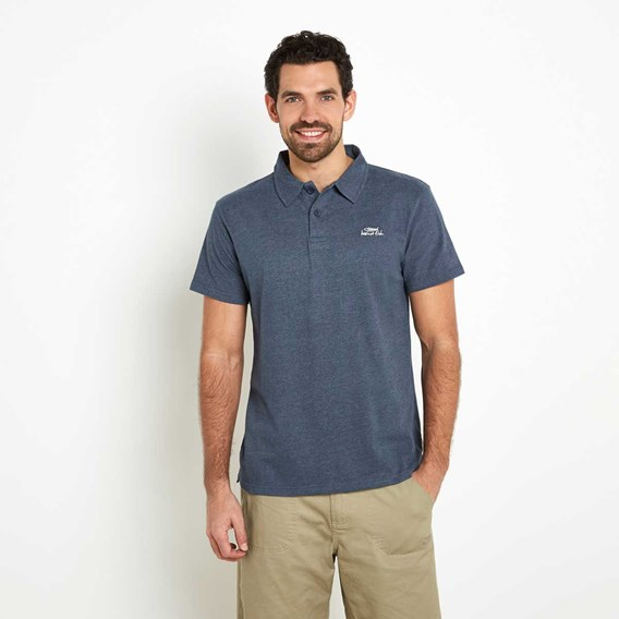 Andy Embroidered Logo Jersey Polo Shirt Moonlight Blue