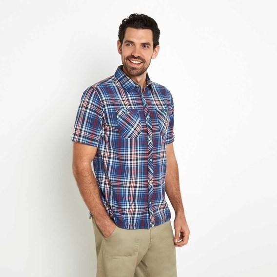 Dirge Seersucker Short Sleeve Check Shirt Vintage Blue