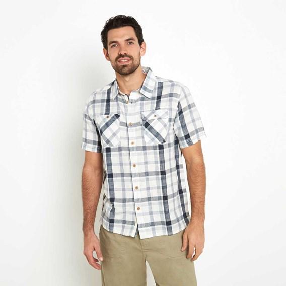 Huff Cotton & Linen Mix Short Sleeve Check Shirt Moonlight Blue
