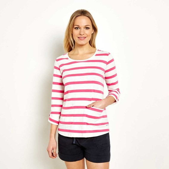 Bollywood Stripe Long Sleeve T-Shirt  Hot Pink
