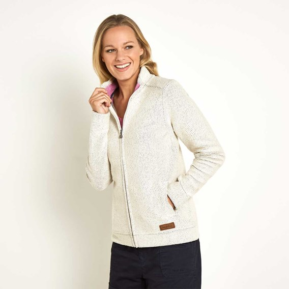 Eartha Full Zip Seira Soft Knit Jacket Cream