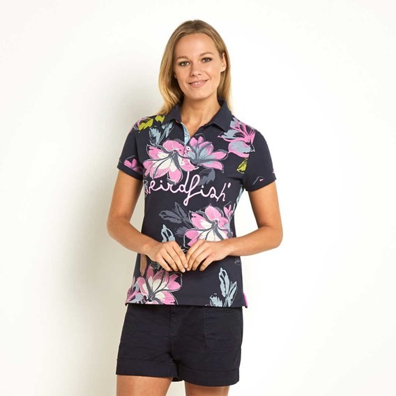 Roselea Printed Polo Shirt Navy