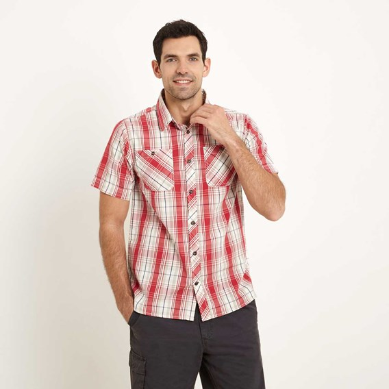 Kale Cotton Short Sleeve Checked Shirt Barberry Red