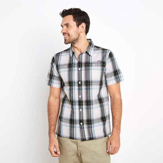 Farley Short Sleeve Check Shirt Washed Black