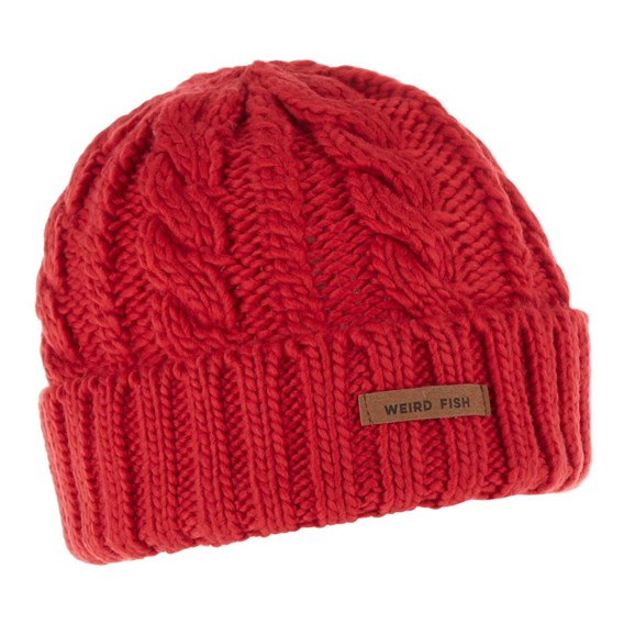 Denver Cable Knit Beanie Dark Red