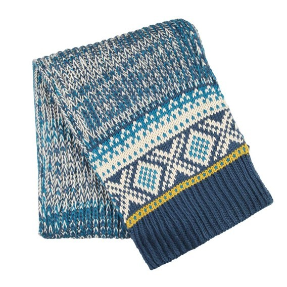 Carson Chunky Fair Isle Knit Scarf Ensign Blue