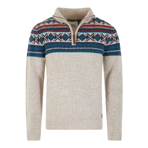 Kenmore 1/4 Zip Fair Isle Knitted Jumper Ecru