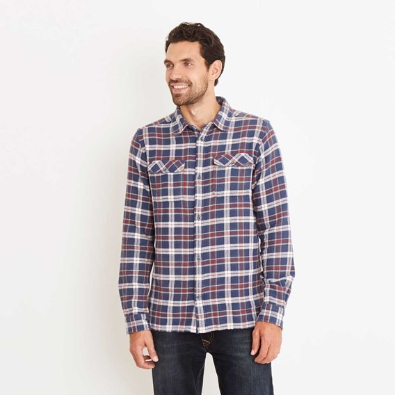 Moonshine Brushed Cotton Long Sleeve Check Shirt Ensign Blue