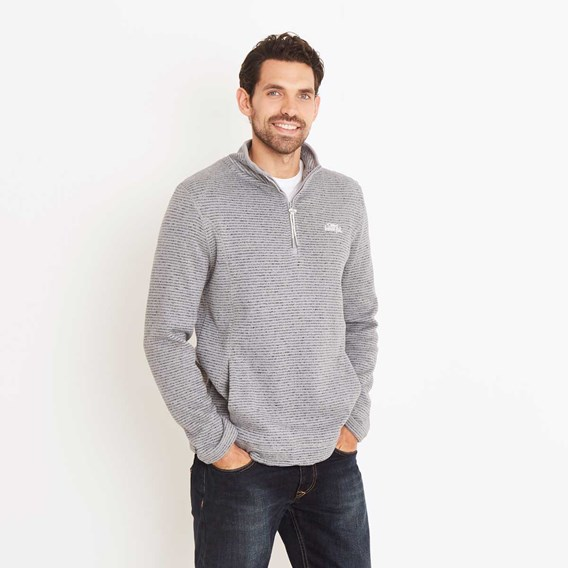 Lansing 1/4 Zip Striped Soft Knit Fleece Top Grey Blue