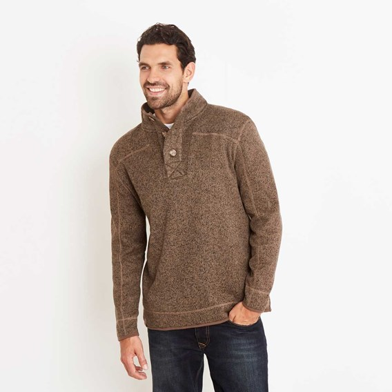 Raleigh Button Neck Soft Knit Fleece Top Espresso