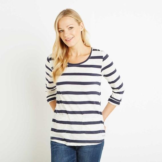 Bollywood Cotton Slub Stripe Long Sleeve T-Shirt Dark Navy