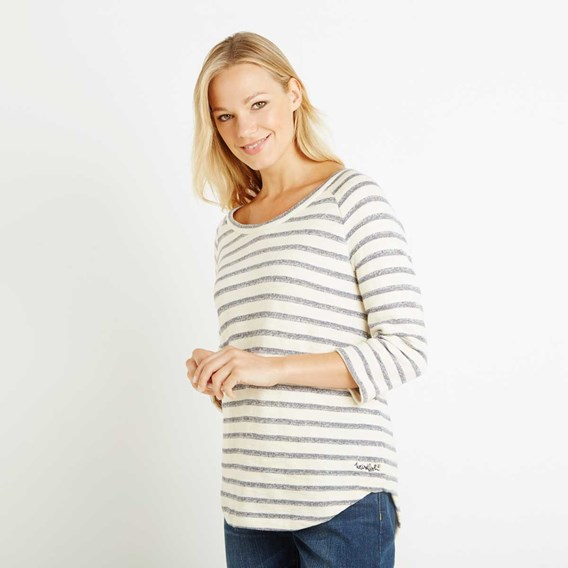 Roxie Striped Crew Neck Top Dark Navy
