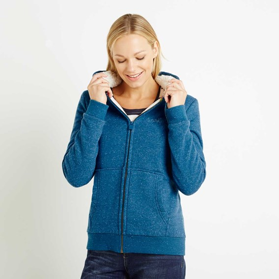 Maisie Plush Fur Lined Hoodie Blue Jay