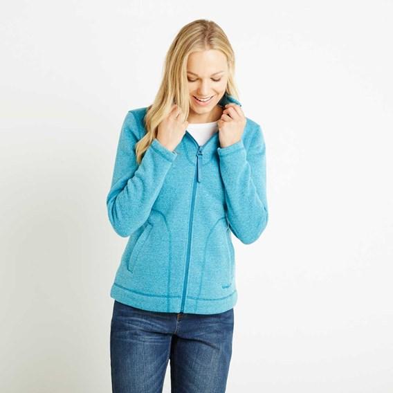 Galata Soft Knit Full Zip Fleece Top Blue Jay