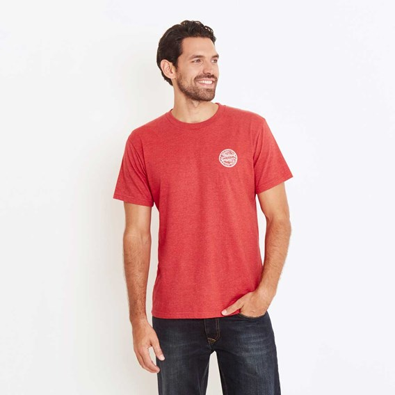 Heritage Surf Graphic Print T-Shirt Dark Red Marl