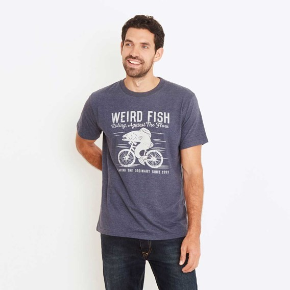 Fish Cycle Graphic Print T-Shirt Blueberry Marl