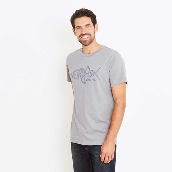 Fiddle Cornelli Stitch T-Shirt Grey Blue Marl