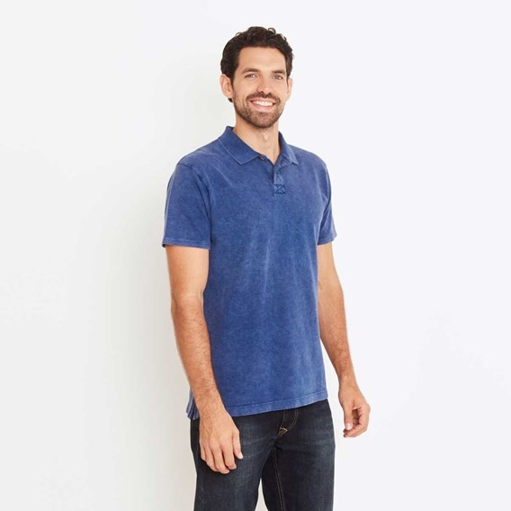 Anchorage Dip Dyed Slub Pique Polo Shirt Ensign Blue