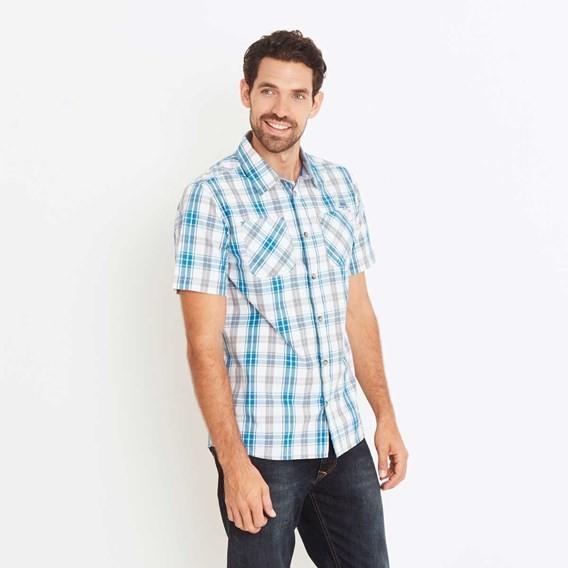 Bardstown Lightweight Short Sleeve Check Shirt Blue Jay