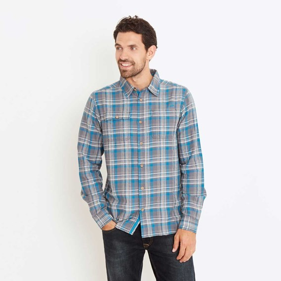 Bernheim Twill Check Long Sleeve Shirt Petrol Blue