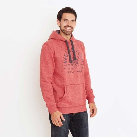 Bellicose Graphic Print Popover Hoodie Dark Red