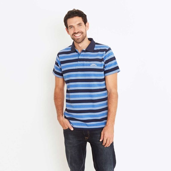Galileo Striped Polo Shirt Dark Navy