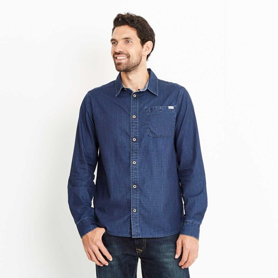 Trigger Geo Print Long Sleeve Shirt Ensign Blue