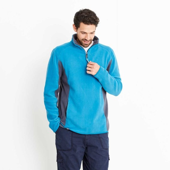 Penn 1/4 Zip Panelled Technical Microfleece Top Blue Jay