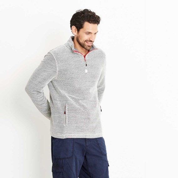 Renil 1/4 Zip Fleece Lined Macaroni Sweatshirt Soft Grey