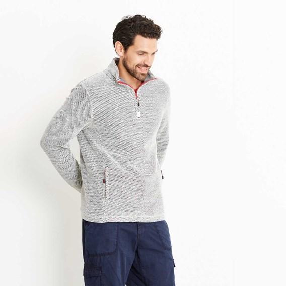 Renil 1/4 Zip Fleece Lined Macaroni Sweatshirt Soft Grey