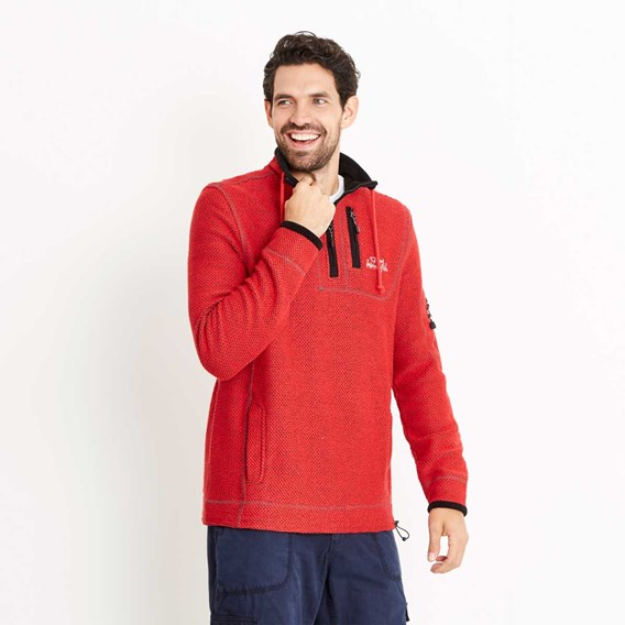 Parkway 1/4 Zip Technical Macaroni Sweatshirt Dark Red