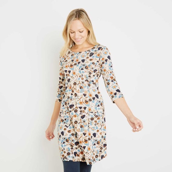 Starshine Printed Jersey Dress Porridge