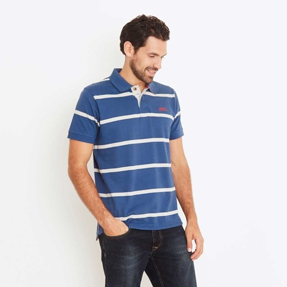 Brecker Striped Polo Shirt Ensign Blue