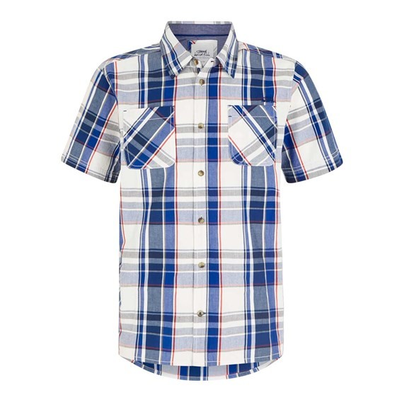 Rewind Cotton Short Sleeve Check Shirt Cobalt Blue