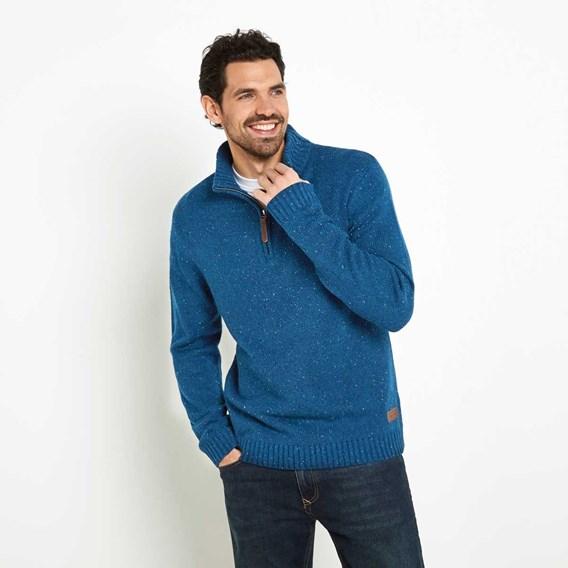 Brayden 1/4 Zip Knitted Jumper Deep Sea Blue